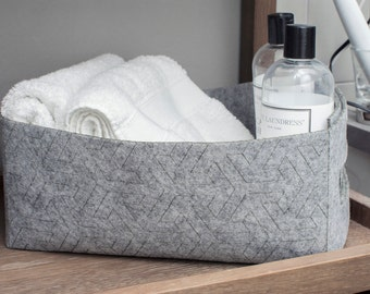 Felt Storage Basket, Gray Toy Box Bin Catchall, Housewarming GiftUnder 50Dollars, Hygge Bathroom Bedroom, Nordic Scandinavian MinimalDecor