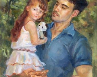 Custom portrait, Portrait, Oil portrait,  Portrait from photo, Portrait painting,  Father and child portrait, Impressionism portrait