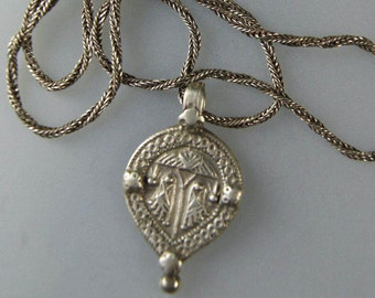 Ethnic Sterling Silver Amulet Necklace from India