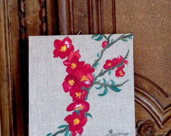 NEW ! Quince tree flowers, acrylic painting on linen