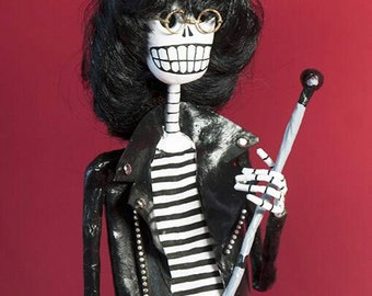 Joey Ramone, Catrina, Day of the dead, sculpture, skeleton, hand made, paper mache, figure, mexican art, Skull, fan art
