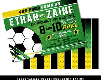 "Soccer Scorer Digital Printable Boys Football Summer Field Sports Birthday Party 5x7"" Invitation PERSONALIZED"