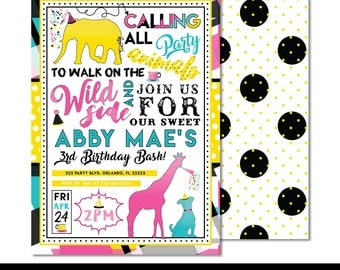 "PAR-TEA Animals Digital Printable Girls Tea Wild Zoo Animal Pets Birthday Party 5x7"" Invitation PERSONALIZED"