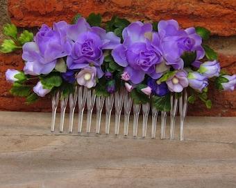Floral Hair Combs - Flower Hair Comb, Wedding Hair Comb, Girl Hair Comb, Bridal Hair Comb, Flower Girl Hair Comb, Bridesmaid Hairpiece