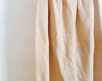 "90s simple cream linen maxi skirt, size small / medium waist 24"" - 33"""