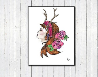 """Forest Girl Watercolor Print, 8x11, 11x14"""", Illustration, Flowers, Girl with Antlers, Girly Prints, Roses, Watercolor Prints, Tumblr, Home"""