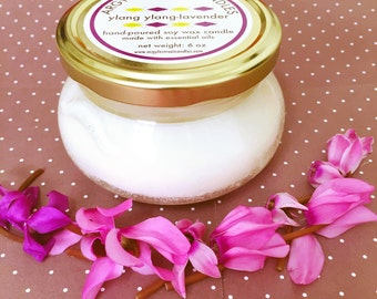 SALE Soy Candle Essential Oil Ylang-Ylang Lavender Glass Container Candle Handmade
