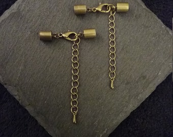 5 or Bulk 25 Antique Bronze Tone End Caps for 5mm Cord with 12mm Lobster Clasps & Extension Chain