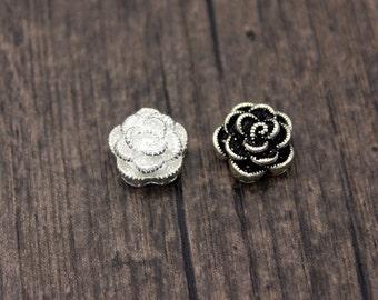 12mm Sterling Silver Rose Bead,Rose Flower Beads, Sterling Rose Bead, Sterling Flower Bead,Silver Rose Spacer Beads,Silver Flower Spacer