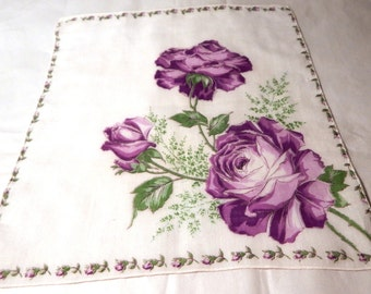 1940s Vintage Cotton Handkerchief with Printed Purple Roses