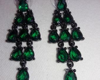 Rhinestone Emerald Green Vintage Pierced Earrings