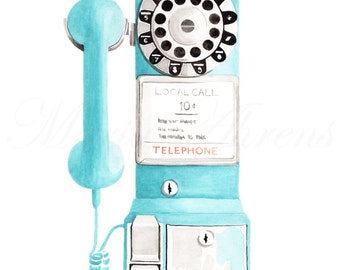 Retro Vintage Payphone in Aqua Blue Fashion Illustration Print, Watercolor Art, Giclee Print, 8X10 11x14 Decor