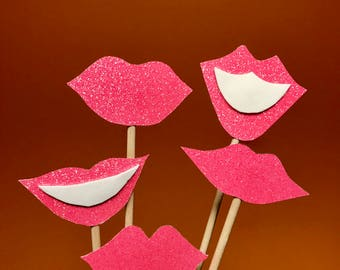 Photo Booth Props, Pink Lips, Lips Photo Booth Props, Wedding Photo Booth Props, Valentines, Bachelorette, Engagement, Birthday, Hen Party