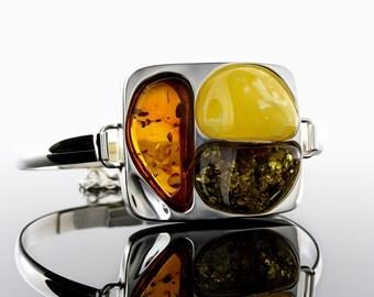 Multi Stone Bracelet, Amber Bracelet, Statement Bracelet, Large Silver Bracelet, Multi Stone Large Bracelet, Modern Stone Bracelet