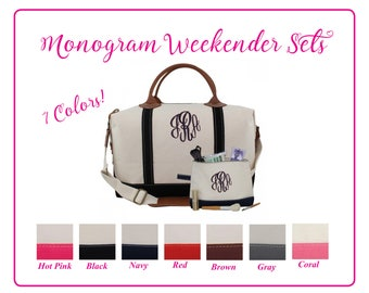 Monogram Weekender Bag, Monogram Cosmetic Bag, Personalized Weekender, Monogram Travel Bag, Graduation Gift, Canvas Bag, Monogram Travel Set