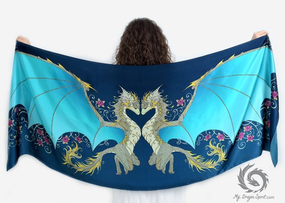 Blue Love Dragons Scarf