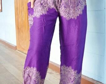 Purple pants Purple clothes Flower pants Harem shop Hippie shop Bohemian shop Rayon clothes