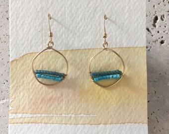 Handmade turquoise bead, gold filled dangle earrings,