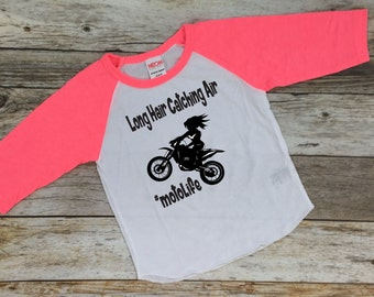 Long Hair Catching Air Shirt. Motocross Shirt. Girls Dirt Bike Shirt. Girls Motocross Shirt.Motocross Girls Shirt.