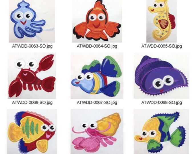 EZSea-Friends-Applique. ( 14 Machine Embroidery Designs from ATW )