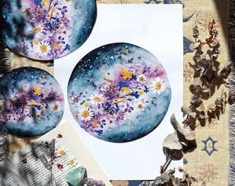 Flower Planet, Moon Art, Luna