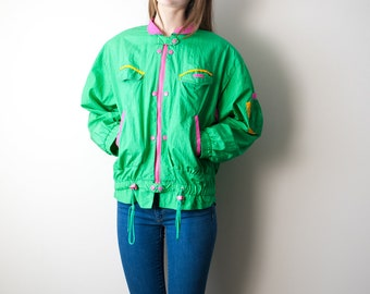 80s Green Neon Windbreaker / Multicolored / Pink & Yellow