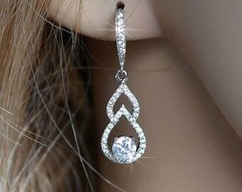 Delicate Handmade Cubic Zirconia CZ Teardrop Dangle Bridal Earrings, Bridal, Wedding (Sparkle-2301A)