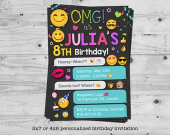 Emoji birthday invitation - personalized with your child's name - digital / printable
