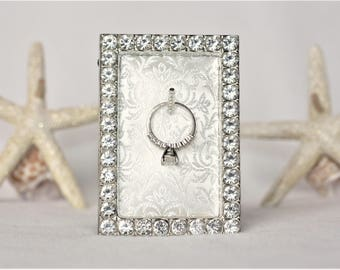Ring Holder, Engagement Ring Holder, Wedding Ring Holder, Sparkly Ring Holder Frame, Engagement Gift, Wedding Gift, Ring Frame Holder