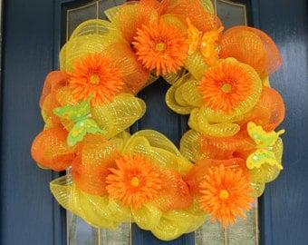 Summer Wreath, Yellow Wreaths, Orange Wreaths, Spring Wreaths, Spring Wreath, Butterfly Wreath, Wreaths for Spring, Spring Door Wreath