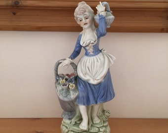 Vintage Lladro Style Figurine; Lady Carrying Flower Pot from 1940s