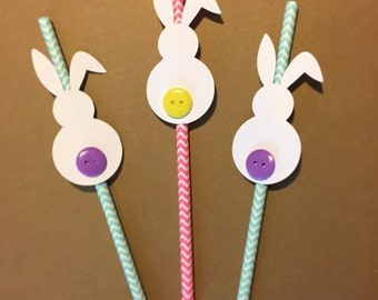 Bunny Straws, Easter Straws, Easter Paper Straws, Rabbit Straws, Pink and Teal Easter Paper Straws, Set of 12