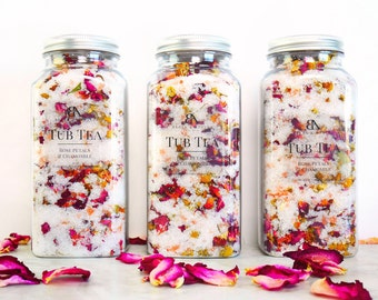 Detox Bath Salts Rose Bath Soak Herbal Bath Tub Tea Pink Himalayan Salts Rose Bath Tea get well gift Chamomile Epsom salts bath salts 16 oz