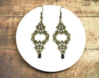 Victorian earrings victorian gothic earrings, goth jewelry dark romantic black glass beads bronze long romantic jewellery