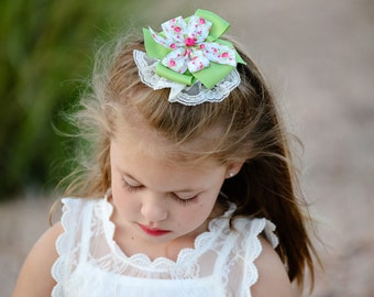 Lace Bow-Pink Rose Hair Bow-Rose Hairbow-Pink and Green Bow-Pinwheel Hair Bow-Round Bow- Lace Hair Bows -Dressy Hair Bow - Hair Clips