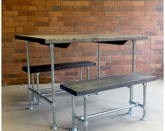 SPRING SALE Freya Industrial dining table and bench set -  boardroom table reclaimed wood scaffold steel pipes vintage industrial
