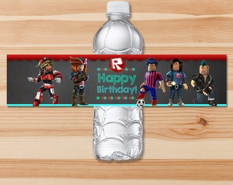 Roblox Birthday Drink Labels - Chalkboard - Roblox Water Bottle Labels - Roblox  Birthday Party - Roblox Party Favors - Roblox Printables
