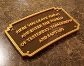 Main Street Entranceway Welcome Plaque DL Inspired Sign - Dual Brown / Gold Color (Disney Prop Inspired Replica)