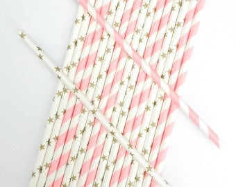 25 Pink and Gold Paper Straws, Gold and Pink First Birthday, Baby Shower, Twinkle Twinkle Little Star Party Decor, Wedding, Engagement