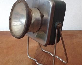 "Mid Century french Industrial ""Robot"" Flashlight. Vintage lamp portable industrial Elaul France. Railway Hand Held Lamp Box"