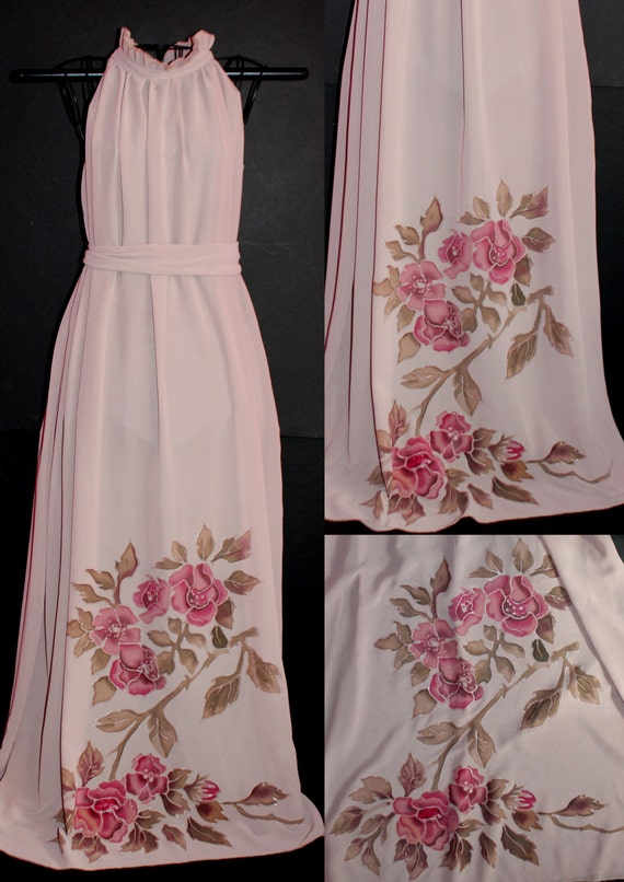 Big size Hand painted dress,Large Chffon ivory dress,Extra long sleeveless dress,For bridesmaid,Floral,Event dress,Summer wrap,Etsy ASAP