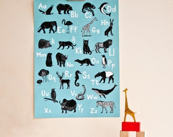Animal ABC-Poster, german alphabet poster, animal illustrations, turquoise, scratchboard, nursery or kids room, interior decoration, print