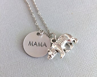 Mama Bear Necklace, Bear Charm, Mother Necklace, Birthstone Necklace, Personalized Mother Gift, Mother's Day, Hand Stamped Jewelry