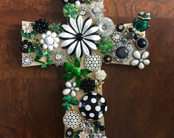 Green black & white jeweled cross.