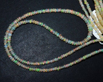 1 Strand Ethiopian Opal Smooth Rondelle Beads - Flash Ethiopian Opal Plain Beads , Sold By Strand , 2.50 - 5 mm, 16 Inch - EO216
