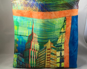 Large Quilted Fabric Tote Bag with Pockets, Craft Knitting Bag, Shopper, Shopping, Trendy, Fashionable, New York Cityscape,