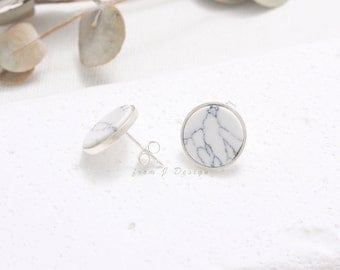 Sterling Silver White Howlite Circle Stud Earrings, Disk Bezel White Marble Stud Earrings