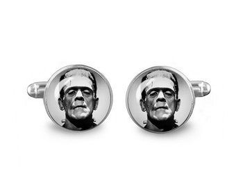 Frankenstein Cuff Links Gothic Cuff Links 16mm Cufflinks Gift for Men Groomsmen Novelty Cuff links Fandom Jewelry