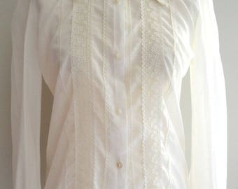 Vintage 70s white shirt blouse Medium