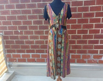 Vintage Batik Dress, Ethnic Print Dress, African Print Dress, 90s Boho Maxi Dress, Dress With Vest, Tie Back Dress, Colorful Dress